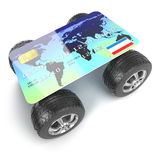 3d Credit card with wheels Stock Image