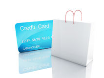 3d credit card. shopping concept. Image of 3d credit cart. shopping concept in white background Stock Image