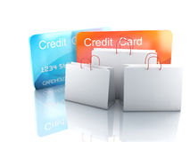 3d credit card. shopping concept. Image of 3d credit cart. shopping concept in white background Stock Photos