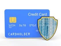 3d creditcard met schild Stock Afbeeldingen