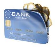 3D creditcardhoogtepunt van euro muntstukken Stock Foto's