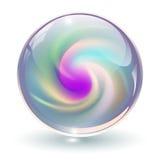 3D cristal, sphère en verre illustration stock