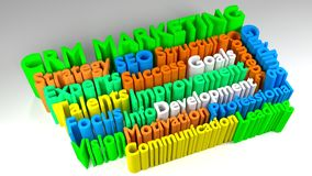 3D CRM MARKETING word cloud Stock Photography