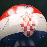 3d Soccer Ball with Croatia Flag Illustration Stock Images