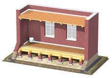 3D Cross section of brick house. Stock Photo