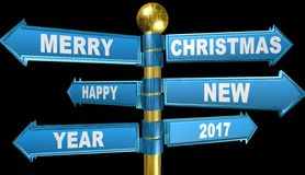3d crossroads,Merry Christmas and Happy New Year,animation. 3d crossroads,Merry Christmas and Happy New Year,best animation Royalty Free Stock Photo