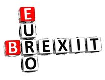 3D Crossword Brexit Euro over white background. 3D Crossword Brexit Euro over white background Royalty Free Stock Images