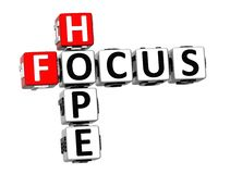 3D Crossword Focus Hope on white background Stock Image