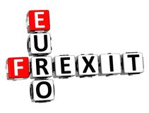 3D Crossword Frexit Euro over white background. 3D Crossword Frexit Euro over white background Royalty Free Stock Images