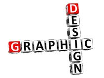3D Crossword Graphic Design on white background.  Stock Images