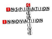 3D Crossword Inspiration Innovation Creative on white background.  Stock Image