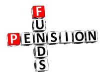 3D Crossword Pension Founds on white background Stock Photography