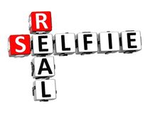 3D Crossword Real Selfie on white background Stock Images