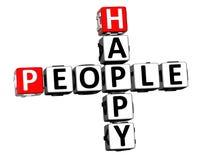 3D Crossword Szczęśliwi ludzie Fotografia Royalty Free