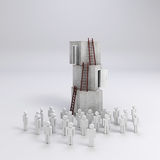 3d crowd man and  stack of boxes. Success in business concept Royalty Free Stock Images
