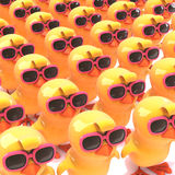 3d A crowd of yellow birds all wearing pink sunglasses. 3d render of a crowd of yellow birds wearing pink sunglasses Stock Photography