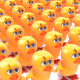 3d A crowd of yellow birds Royalty Free Stock Photo