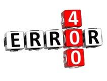 3D crucigrama del error 400 Imagen de archivo libre de regalías