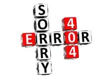 3D crucigrama triste del error 404 Foto de archivo libre de regalías