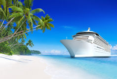 3D Cruise Ship. In Summertime Royalty Free Stock Photos