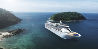 3d Cruise Ship Vacation Holiday Summer Illustration Concept Stock Image