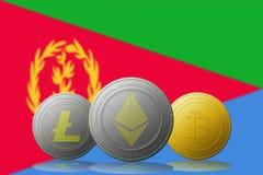3D cryptocurrencies Bitcoin Ethereum et Litecoin de l'illustration trois avec le drapeau de l'Érythrée sur le fond Photos stock