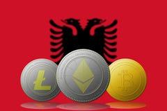 3D cryptocurrencies Bitcoin Ethereum et Litecoin de l'illustration trois avec le drapeau de l'Albanie sur le fond Image stock