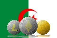 3D cryptocurrencies Bitcoin Ethereum et Litecoin de l'illustration trois avec le drapeau de l'ALGÉRIE sur le fond Photos stock