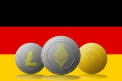 3D cryptocurrencies Bitcoin Ethereum et Litecoin de l'illustration trois avec le drapeau de l'ALLEMAGNE sur le fond Images stock