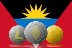 3D cryptocurrencies Bitcoin Ethereum et Litecoin de l'illustration trois avec le drapeau de l'Antigua-et-Barbuda sur le fond Images libres de droits