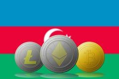 3D cryptocurrencies Bitcoin Ethereum et Litecoin de l'illustration trois avec le drapeau de l'Azerbaïdjan sur le fond Image libre de droits