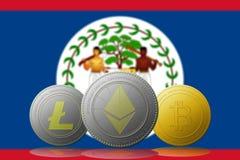 3D cryptocurrencies Bitcoin Ethereum et Litecoin de l'illustration trois avec le drapeau de Belice sur le fond Photographie stock libre de droits
