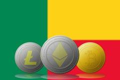 3D cryptocurrencies Bitcoin Ethereum et Litecoin de l'illustration trois avec le drapeau de Belice sur le fond Photos libres de droits