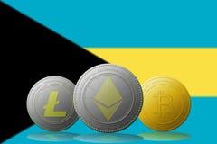 3D cryptocurrencies Bitcoin Ethereum et Litecoin de l'illustration trois avec le drapeau des Bahamas sur le fond Photos libres de droits