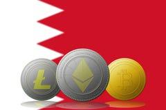 3D cryptocurrencies Bitcoin Ethereum et Litecoin de l'illustration trois avec le drapeau des Bahamas sur le fond Image stock
