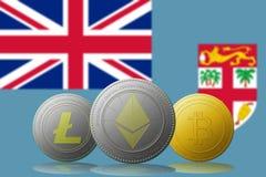 3D cryptocurrencies Bitcoin Ethereum et Litecoin de l'illustration trois avec le drapeau des Fidji sur le fond Photo libre de droits