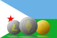 3D cryptocurrencies Bitcoin Ethereum et Litecoin de l'illustration trois avec le drapeau de Djibouti sur le fond Image stock