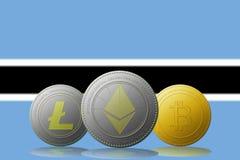 3D cryptocurrencies Bitcoin Ethereum et Litecoin de l'illustration trois avec le drapeau du Botswana sur le fond Image stock