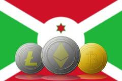 3D cryptocurrencies Bitcoin Ethereum et Litecoin de l'illustration trois avec le drapeau du Burundi sur le fond Photographie stock