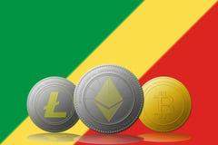 3D cryptocurrencies Bitcoin Ethereum et Litecoin de l'illustration trois avec le drapeau du Congo sur le fond Photo stock