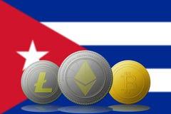 3D cryptocurrencies Bitcoin Ethereum et Litecoin de l'illustration trois avec le drapeau du Cuba sur le fond Photos libres de droits