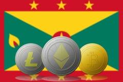 3D cryptocurrencies Bitcoin Ethereum et Litecoin de l'illustration trois avec le drapeau du GRENADA sur le fond Images stock