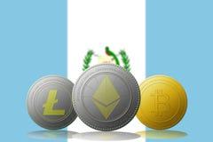 3D cryptocurrencies Bitcoin Ethereum et Litecoin de l'illustration trois avec le drapeau du Guatemala sur le fond Images stock