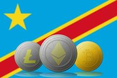 3D cryptocurrencies Bitcoin Ethereum et Litecoin de l'illustration trois avec le drapeau du République démocratique du Congo sur  Photographie stock