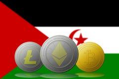 3D cryptocurrencies Bitcoin Ethereum et Litecoin de l'illustration trois avec le drapeau du Sahara d'occidental sur le fond Image stock