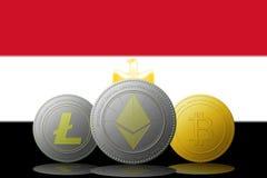 3D cryptocurrencies Bitcoin Ethereum et Litecoin de l'illustration trois avec le drapeau de l'Egypte sur le fond Photographie stock