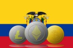 3D cryptocurrencies Bitcoin Ethereum et Litecoin de l'illustration trois avec le drapeau de l'EQUATEUR sur le fond Photographie stock libre de droits