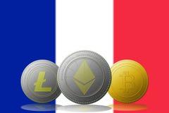 3D cryptocurrencies Bitcoin Ethereum et Litecoin de l'illustration trois avec le drapeau de FRANCES sur le fond Photos libres de droits