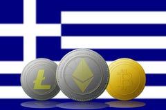 3D cryptocurrencies Bitcoin Ethereum et Litecoin de l'illustration trois avec le drapeau de Grecia sur le fond Image stock