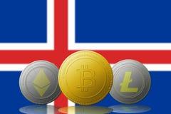 3D cryptocurrencies Bitcoin Ethereum et Litecoin de l'illustration trois avec le drapeau de l'Islande sur le fond Photo libre de droits